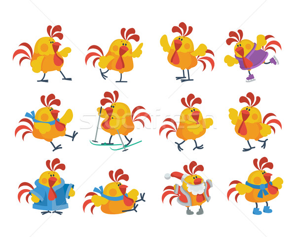 Stock photo: Cute Cartoon Roosters Flat Vector Icon Set