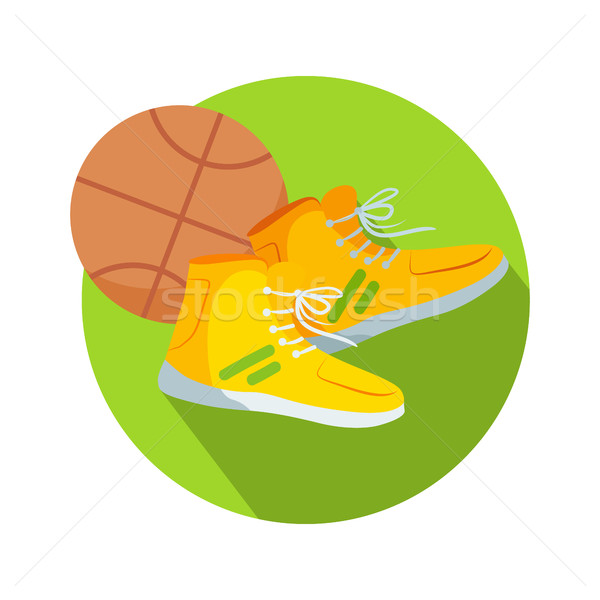 Soccer Boots and Ball Web Button Basketball Vector Stock photo © robuart