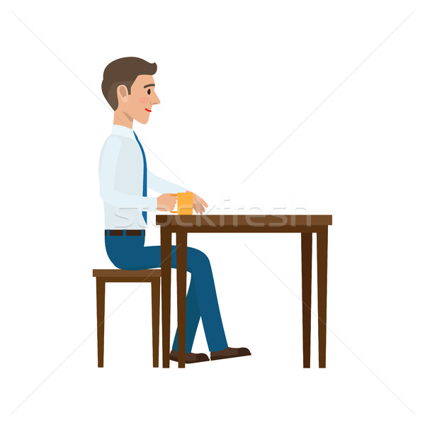 Businessman at Coffee Break Flat Vector Stock photo © robuart
