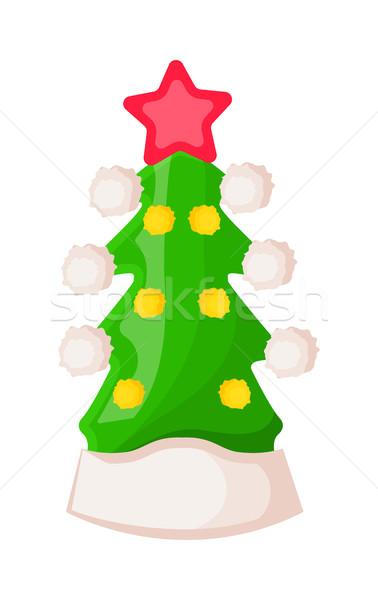 Mikulás kalap űrlap zöld karácsonyfa csillag Stock fotó © robuart