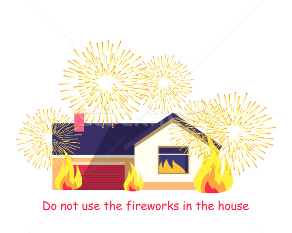 Burning Building with Fireworks Isolated on White Stock photo © robuart