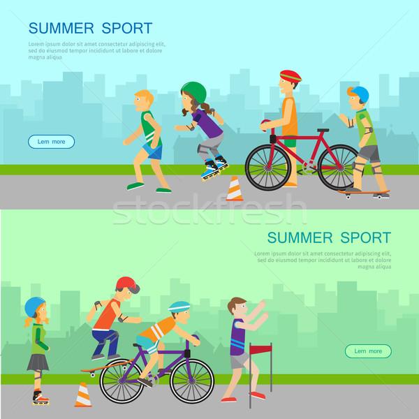 Nyár sport vektor háló szalag terv Stock fotó © robuart