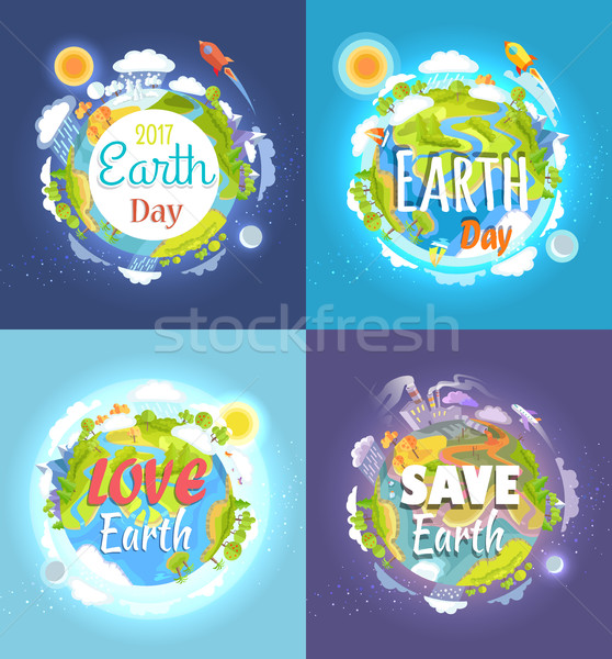 Earth Day 2017 Advertising Posters Collection Stock photo © robuart