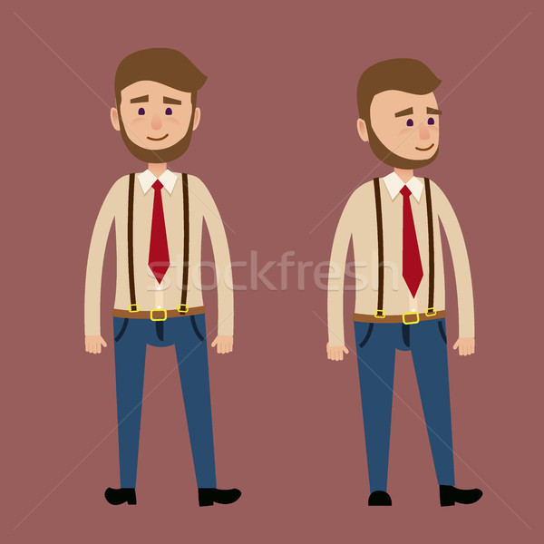Bearded Male Character in Red Tie Illustration Stock photo © robuart