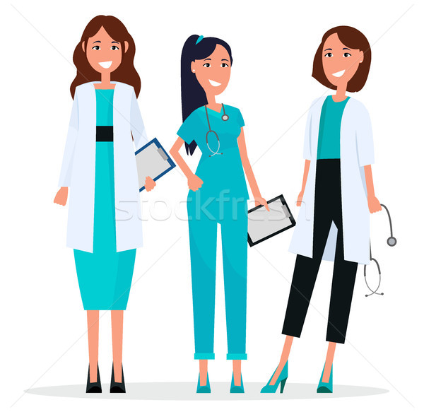 Women Team of Three Pretty Smiling Doctors Flat Stock photo © robuart
