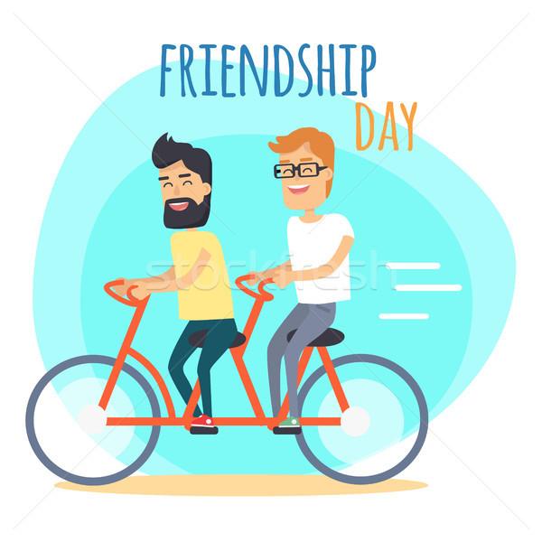 дружбы день два Лучшие друзья удвоится велосипед Сток-фото © robuart