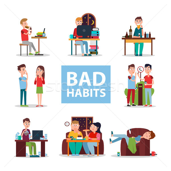 Stock photo: Bad Habits Poster with People Who Do Wrong Set