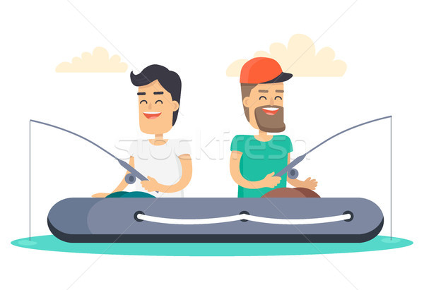 Men out on Fishing in Boat Isolated Illustration Stock photo © robuart