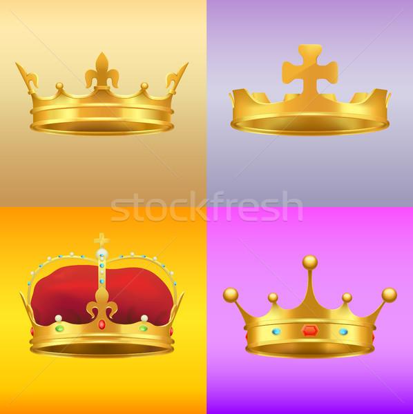 Gold mittelalterlichen mehrere Designs Set unterschiedlich Stock foto © robuart