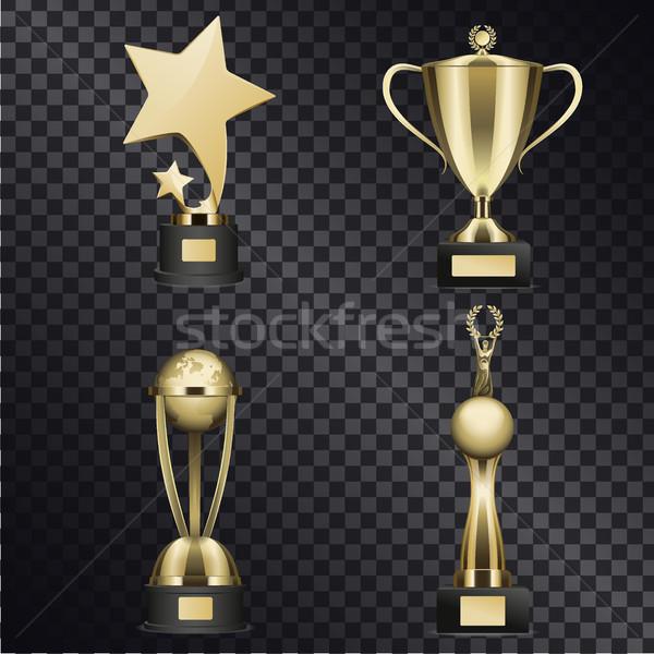 Gouden trofee realistisch vector collectie Stockfoto © robuart