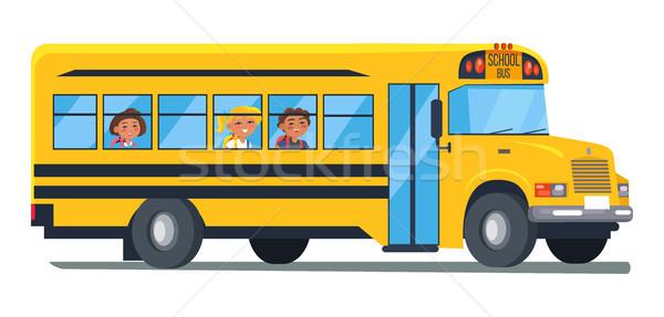 Iskolabusz gyerekek ül ablakok vektor izolált Stock fotó © robuart