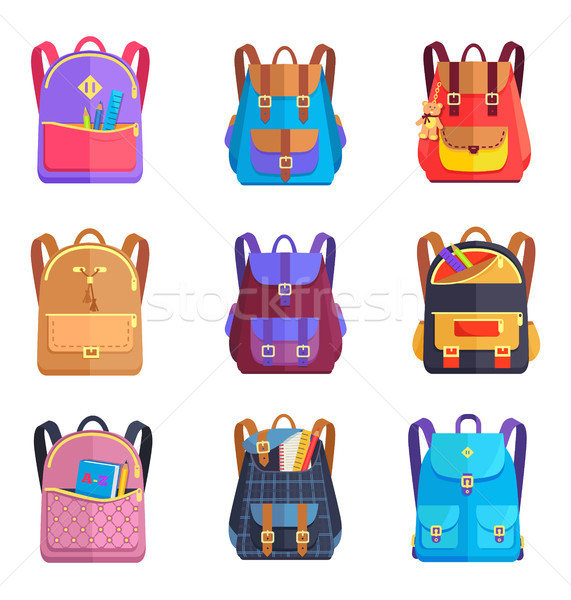 Set of Colorful Rucksacks for Girls or Boys Vector Stock photo © robuart
