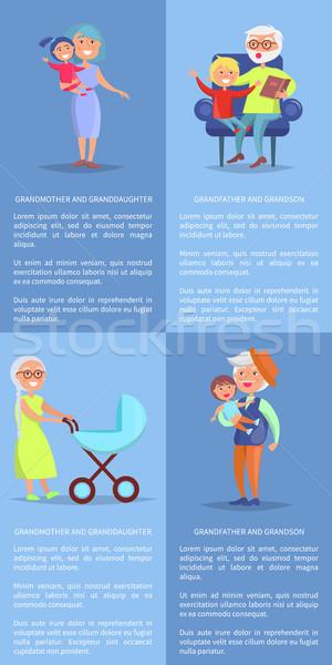 Grootouders kleindochter kleinzoon posters grootmoeder grootvader Stockfoto © robuart