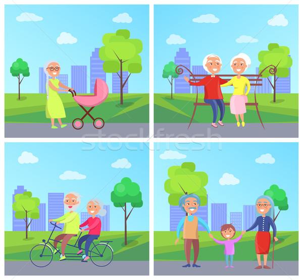 набор дедушка и бабушка дети вектора город Сток-фото © robuart