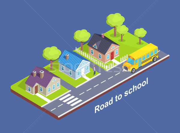 Road to School Through Cottage Town with Crosswalk Stock photo © robuart