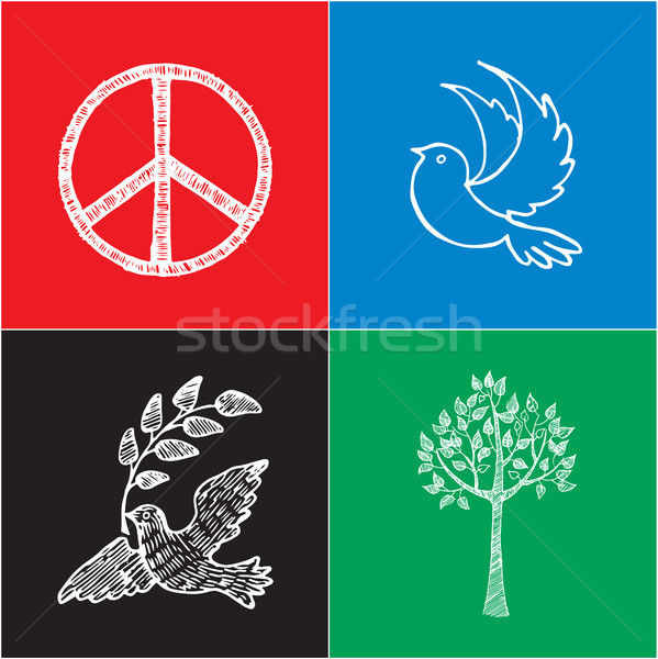 Set of Colored Posters for International Peace Day Stock photo © robuart