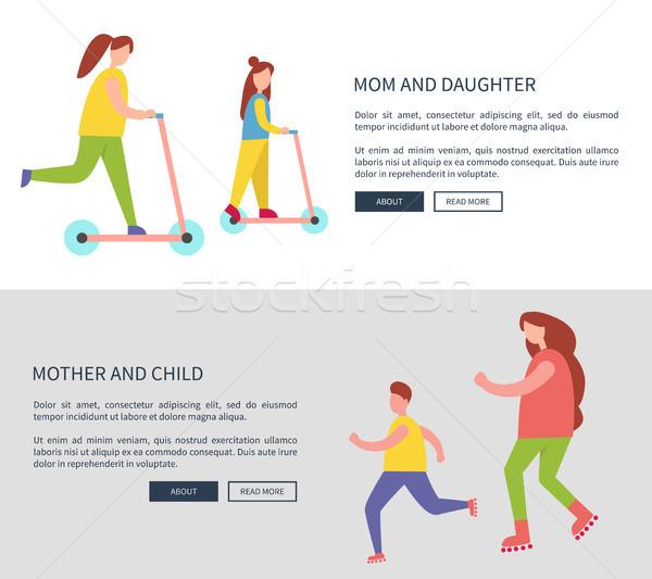 Maman fille enfant icônes activités familiales échantillon Photo stock © robuart