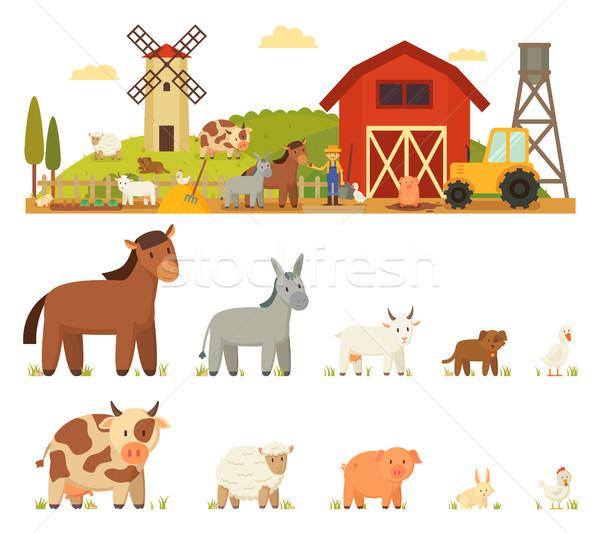 Animal Farm Vector Illustration White background Stock photo © robuart