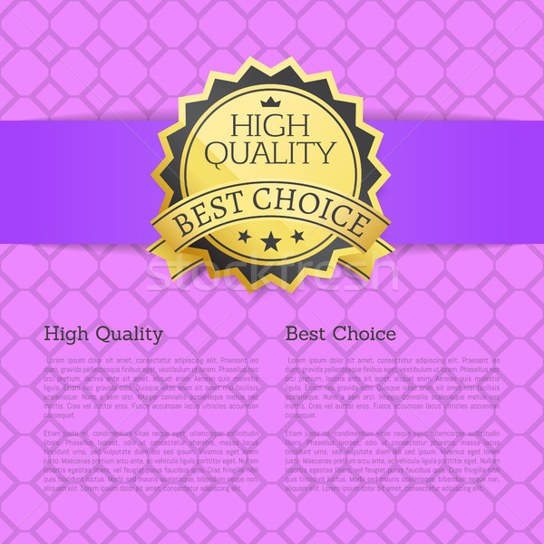 High Quality Approved Best Choice Gold Label Text Stock photo © robuart