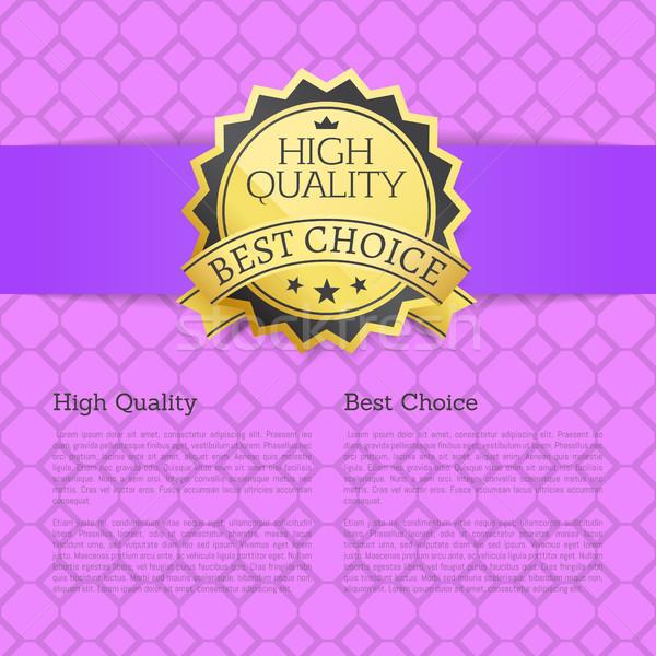 Magas minőség elismert legjobb választás arany címke Stock fotó © robuart