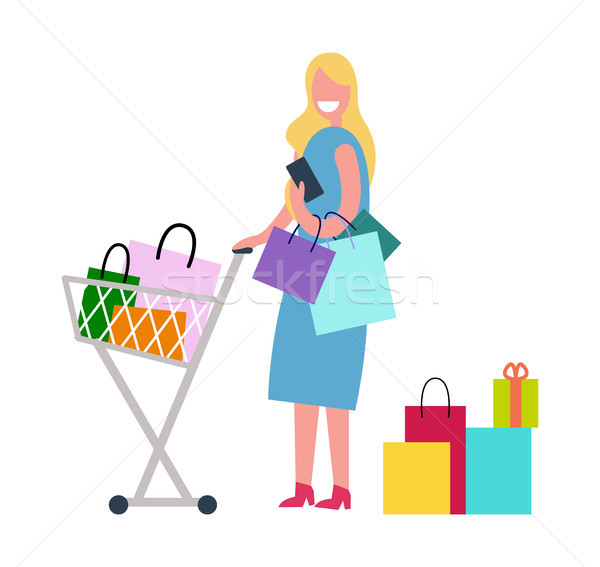 Woman in Process of Shopping Vector Illustration Stock photo © robuart