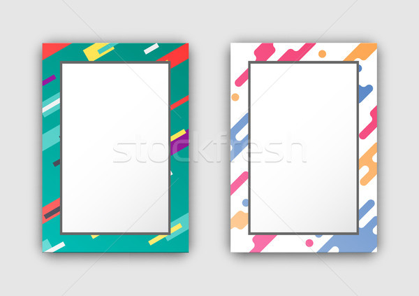 Photo Frames Set with Color Border Abstract Figure Stock photo © robuart