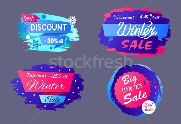 Best Big Winter Discount Vector Illustration Set Stock photo © robuart