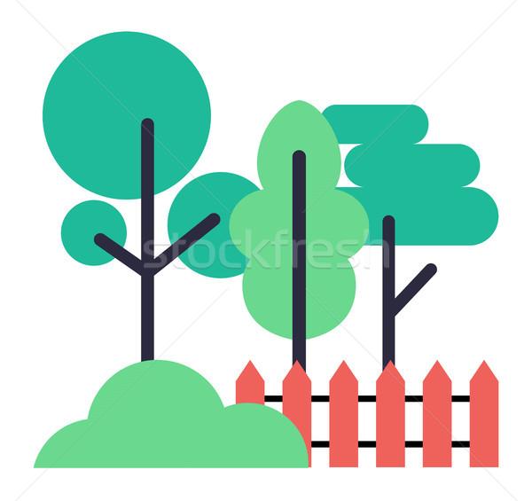 ícones árvores arbusto cerca branco Foto stock © robuart
