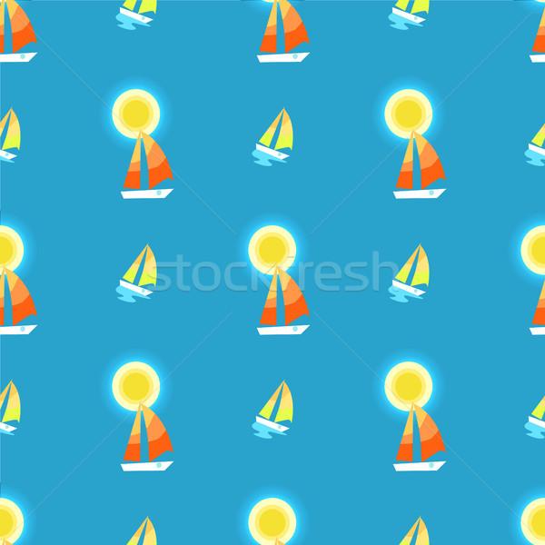 Słońce jacht żaglowiec niebieski nieskończony Zdjęcia stock © robuart