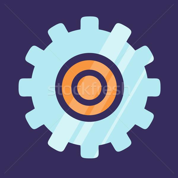Gear Icon Logo Design Isolated on Blue Background Stock photo © robuart