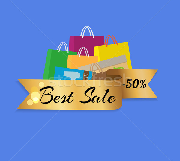 Best Sale 50 Shopping Bags Color Set Isolated Stock photo © robuart