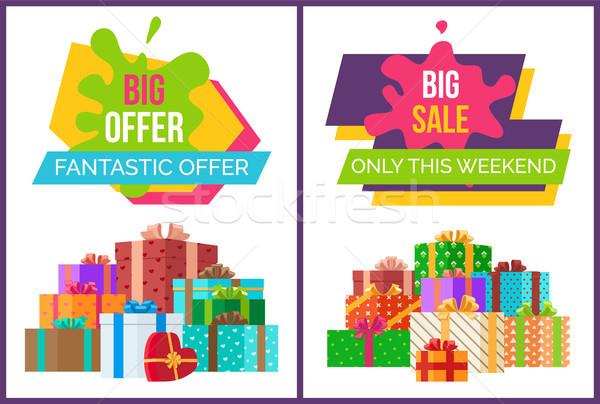 Groot fantastisch verkoop bieden weekend posters Stockfoto © robuart