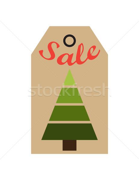 Vásár promo címke örökzöld fa mértani Stock fotó © robuart