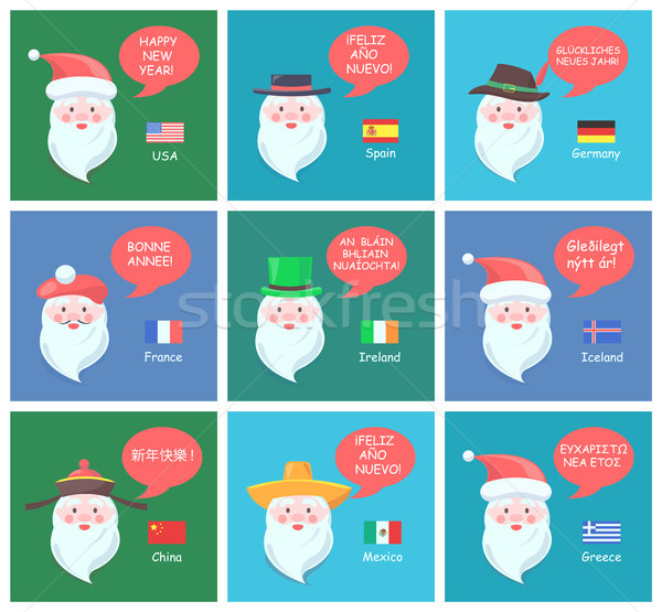 Santa Clauses on Festive Posters with Greetings Stock photo © robuart