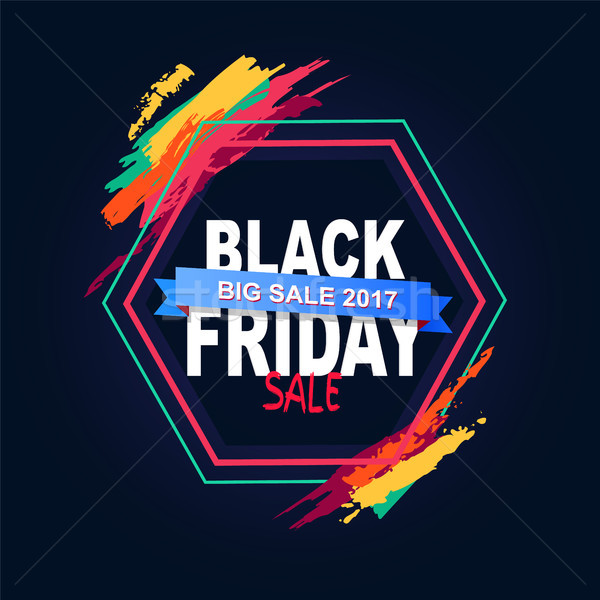 Black Friday Big Sale 2017 Text in Hexagon Frame Stock photo © robuart