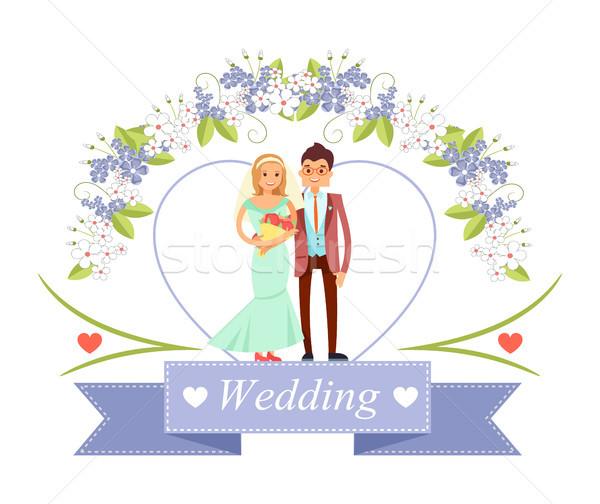 Zdjęcia stock: ślub · oblubienicy · pan · młody · plakat · stałego · wraz