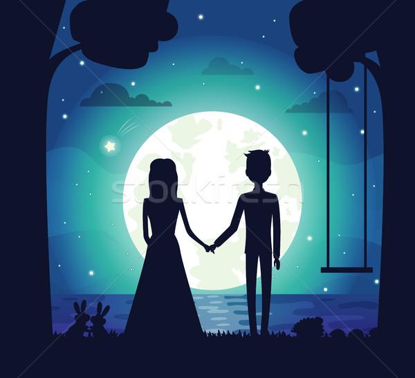 Foto stock: Silhueta · casal · noite · nuvens · estrelas · brilhante