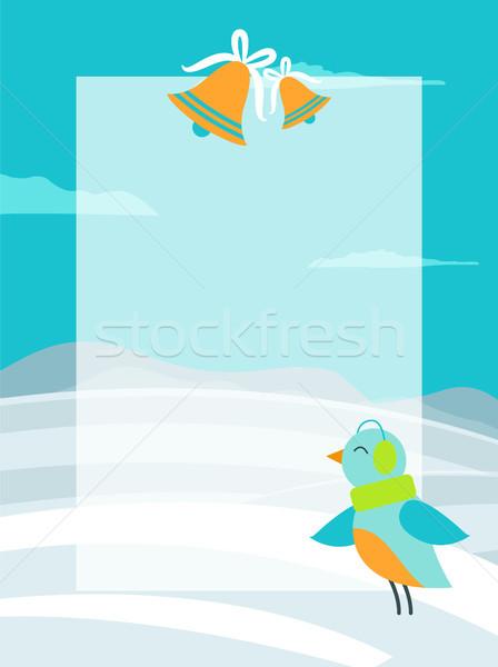 Winter kleurrijk briefkaart heldere vogel groene Stockfoto © robuart