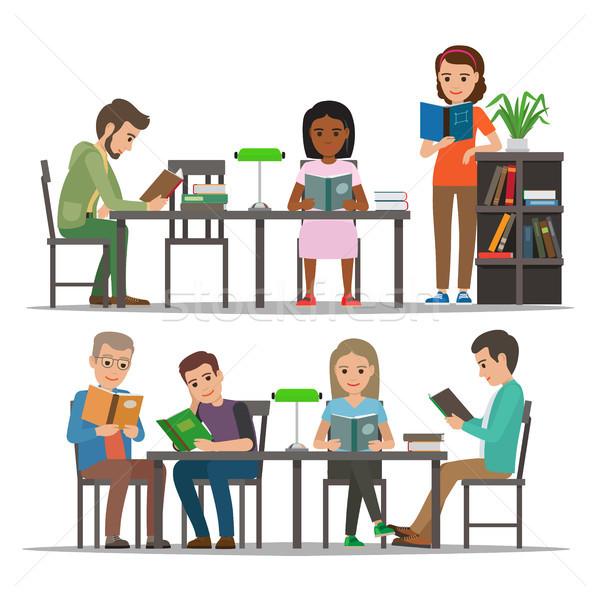 Studenti lettura libro di testo biblioteca vettore persone Foto d'archivio © robuart