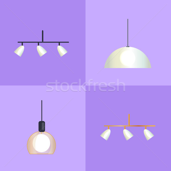 Set of Distinct Shapes Lamps Vector Illustration Stock photo © robuart