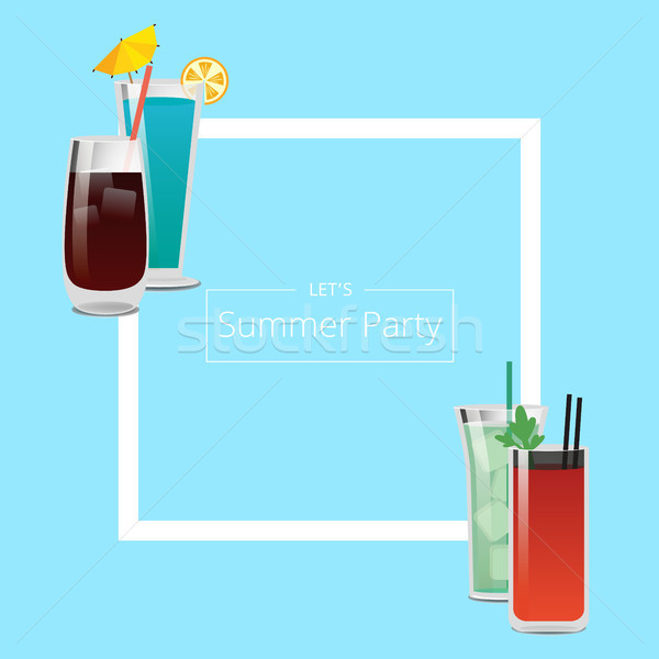 Summer Party Banner with Four Pretty Cocktails Stock photo © robuart