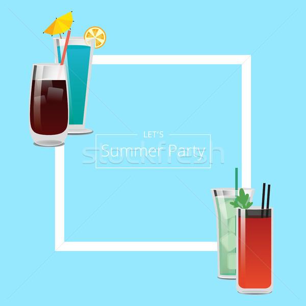 Nyár buli szalag négy csinos koktélok Stock fotó © robuart