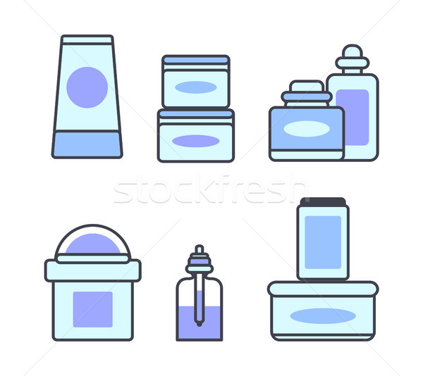 Natural Skincare Cosmetic Means Illustrations Set Stock photo © robuart