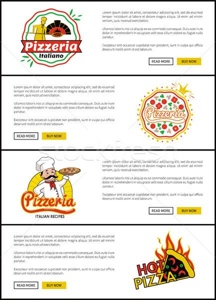 Pizzeria italienisch Rezepte Set Web Seiten Stock foto © robuart