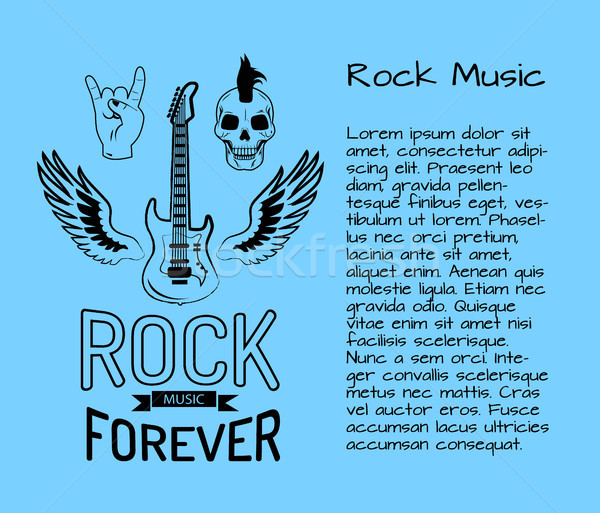 Rock Music Forever Postcard Vector Illustration Stock photo © robuart