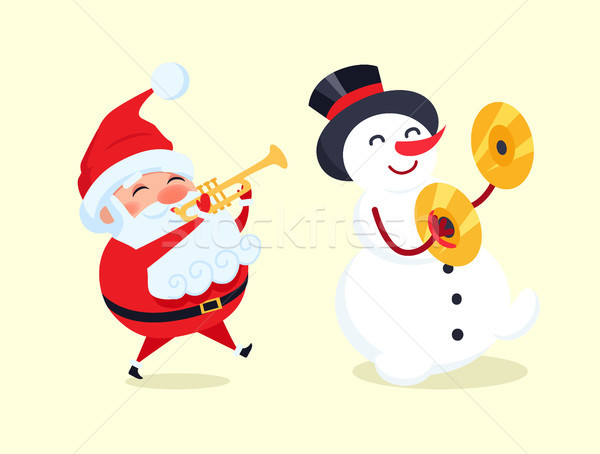 Santa Playing on Trumpet, Snowman with Drum Cymbal Stock photo © robuart