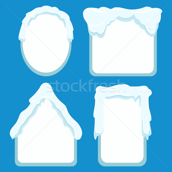 Frames Covered with Snow Set on Blue Background Stock photo © robuart