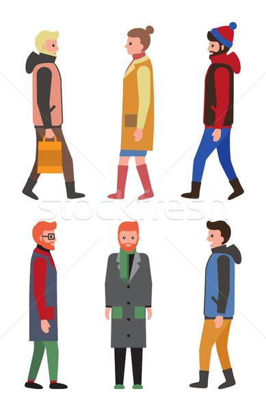 Pessoas inverno perfil ver ícone Foto stock © robuart