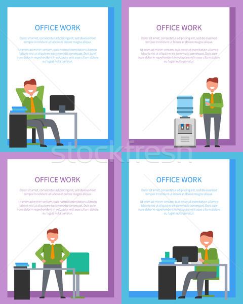 Ofis işleri posterler ayarlamak erkekler işyeri gülen Stok fotoğraf © robuart