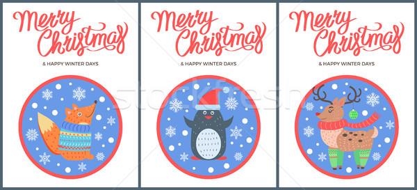 Allegro Natale inverno vettore Fox pinguino Foto d'archivio © robuart